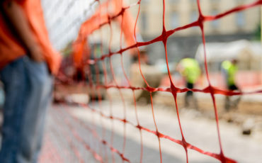 fence construction stock image